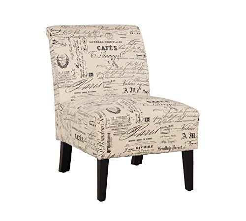 Linon 98320SCRPT01U Linen Script Lily, Dark Walnut Chair, 21.5