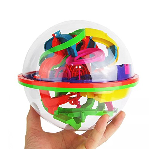 100 Barriers Maze Ball Cube Puzzle Toy 3D Labyrinth Magic Intellect Ball Balance Maze Puzzle Toy Children Kids Brain Teaser Fun Toys ()