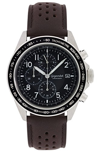 - Gigandet Men's Quartz Watch Racetrack Chronograph Analog Stainless Steel Leather Strap Brown Black G24-010