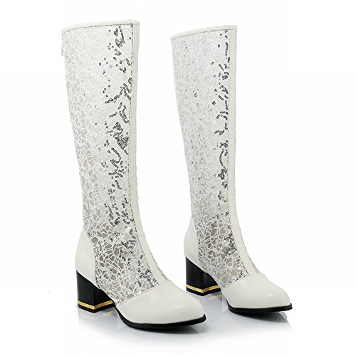 Charm Foot Spring Fashion Lace Zipper Chunky Heel Knee High Boots White 5yn1ZtrM
