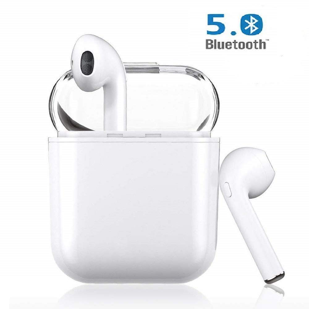 i12 TWS Bluetooth Earbuds Touch, Wireless in-Ear Headphones POP-UPS IPX4 Waterproof Noice Cancelling Headset with Portable Charging Case-White
