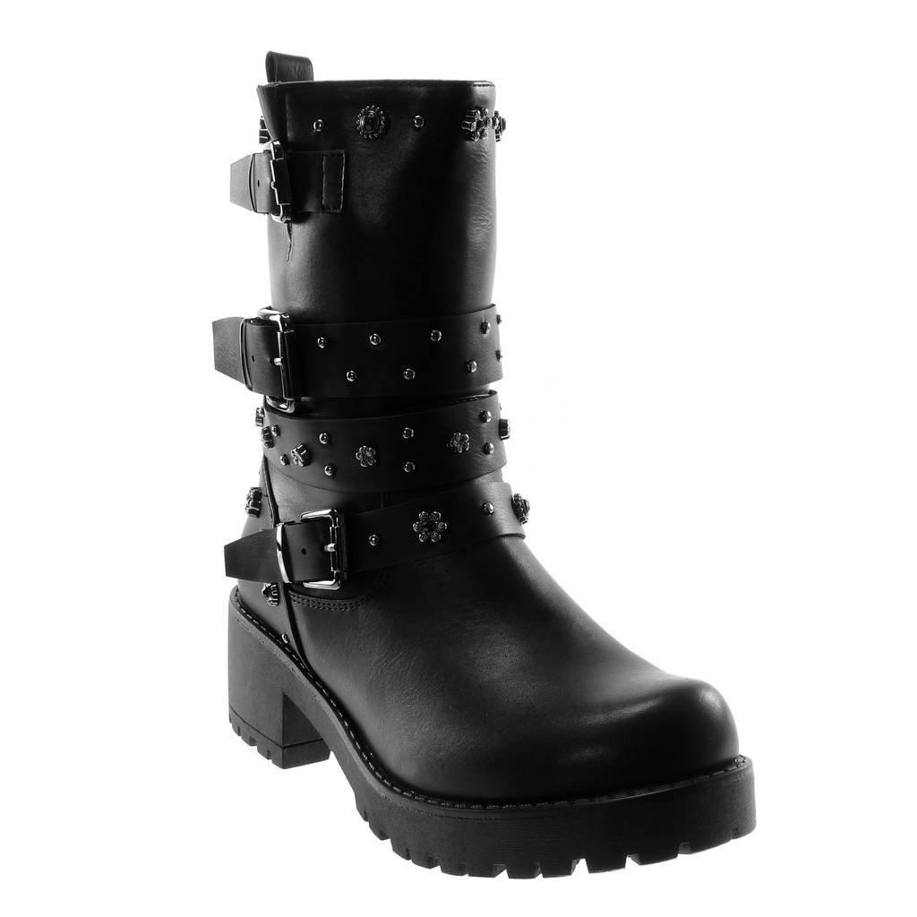 Angkorly - Chaussure Chaussure Plateforme Mode Bottine Botte Motard Rangers B012OBQCEK Plateforme Femme clouté Multi-Bride Boucle Talon Haut Bloc 5.5 CM - Intérieur Fourrée Noir e789239 - epictionpvp.space
