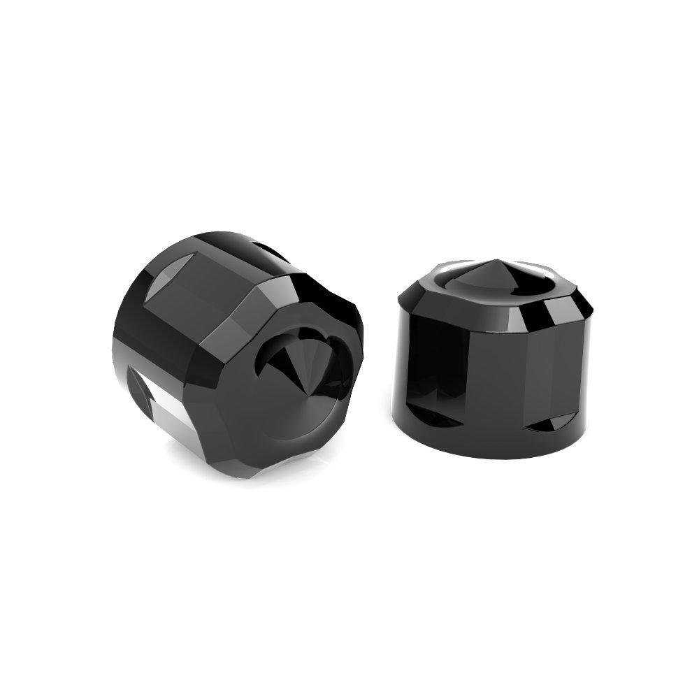 Diamond Cut Crown Bolt Cap Kit (Black Painted) for M8 Harley Davidson