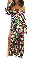 Blansdi Women Off Shoulder Long Sleeve High Split Floral Print Bodycon Clubwear Maxi Dress