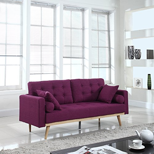 DIVANO ROMA FURNITURE Mid-Century Modern Tufted Linen Fabric Sofa (Purple)