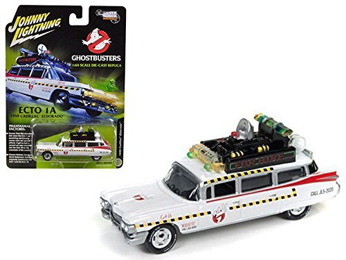 New 1:64 JOHNNY LIGHTNING SILVER SCREEN MACHINES COLLECTION - GHOSTBUSTERS - ECTO 1A - WHITE 1959 CADILLAC ELDORADO Diecast Model Car By Auto World