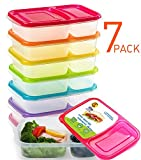 Meal Prep Containers 2 Compartment Bento Lunch Box Containers with Lids Set of 7,Plastic Food Storage Containers with Lids,BPA Free,Reusable,Microwave,Dishwasher Safe,&Portion Control