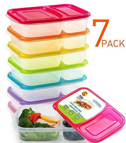 Meal Prep Containers 2 Compartment Bento Lunch Box Containers Set of 7,Plastic Food Storage Containers with Lids,BPA Free,Reusable,Microwave,Dishwasher Safe,&Portion Control