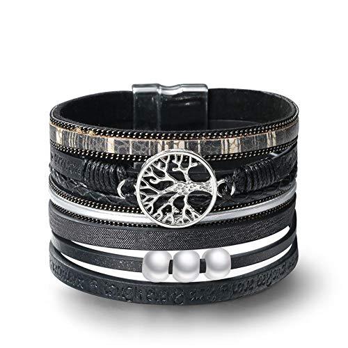 Startoo Tree of Life Wrap Bracelet - (Unisex) Exquisite Black Leather Handmade Braided Multilayer Cuff Magnetic Buckle Boho Bangle Bracelets for Women,Men,Mother's ()