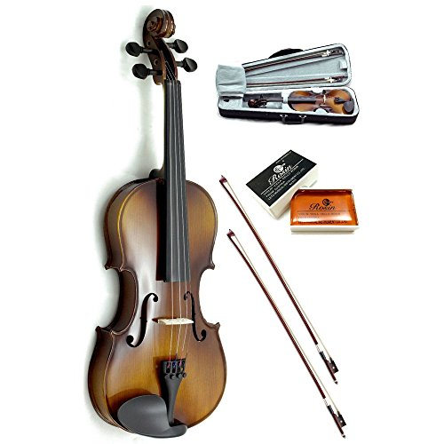 Sky Guarantee Sound 1/10 Size Student Beginner Violin Fiddle Outfit Natural Solid Maple Back Spruce Top with Case, 2 Bows, Rosin and Mute by Sky