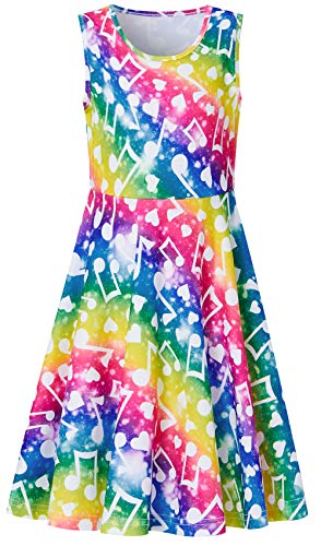 Music Frock for Little Girls Age 5Y 6Y 7Y 3D Floral Printed Navy Blue Green Yellow Rose Red Rainbow Patterns Ruffles Sleeveless Fairy Dressy Cami Dresses for Small Kids on Hawaiian Luau Party Clothes
