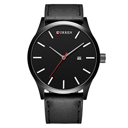Big Dial Men CURREN Relojes Top Luxury Brand Blue Quartz Reloj de pulsera Militar Reloj para hombre Reloj WineRed: Amazon.es: Relojes