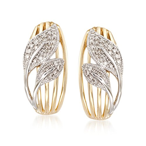 Ross-Simons .18 ct. t.w. Diamond Leaves Earrings in 14kt Two-Tone Gold (Tone Earrings 2 Diamond 14kt)