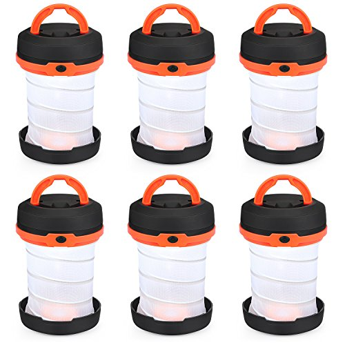 SHINE HAI Camping Lantern Flashlights, Collapsible LED Tent Lights Battery Powered lamp for Outdoor Emergency Hiking Hurricane Outages Storms Backpacking 6-pack (Batteries are Not Included)