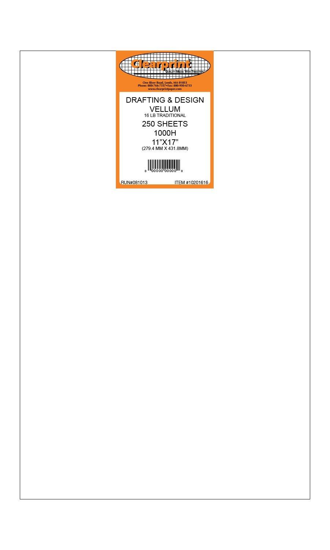 Clearprint 1000H Design Vellum Sheets, 16 Lb., 100% Cotton, 11 x 17 Inches, 250 Sheets Per Pack, 1 Each (10201616) by Clearprint (Image #1)