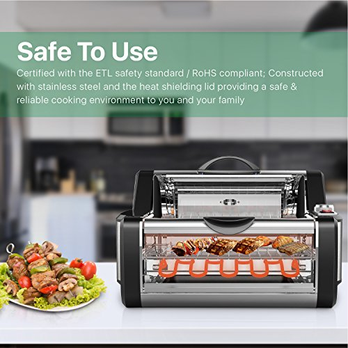 Flexzion Rotisserie Toaster Oven Grill - Countertop Kebab Electric Cooker Rotating Roaster Baking Machine Stainless Steel w/ 7 Kebob Skewers, Heat Resistant Gloves, Bake Ware for Professional & Home by Flexzion (Image #6)