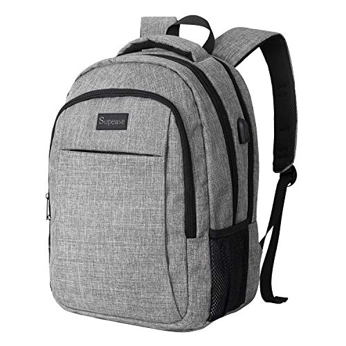 LENOHO Travel Laptop Backpack, Water Resistant Slim Business Laptops Backpack with USB Charging Port, Security College School Computer Bag for Women & Men, Fits 15.6 Inch Laptop and Notebook, Grey
