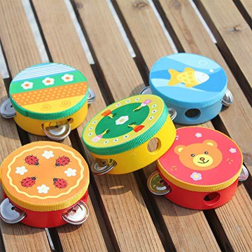 Ocamo Pandereta de Instrumento Musical para niños, Campana de Mano, Tambor de Madera, Color Aleatorio