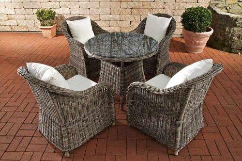 Gartenstühle rattan grau  CLP Poly-Rattan Garten-Sitzgruppe FARSUND, 5 mm Rund-Geflecht (4 ...