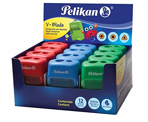 Pelikan V-Blade Pencil Sharpener, 2-Hole, Assorted Colors, 12 Each in Display Pack, 1 Display (15600200)