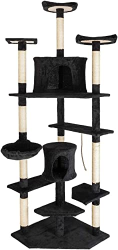 Lovinland Cat Tree, 80 Inch Kitty Condo Furniture Sisal Rope Activity Tree Cat Tall Tower Climb Holder Black