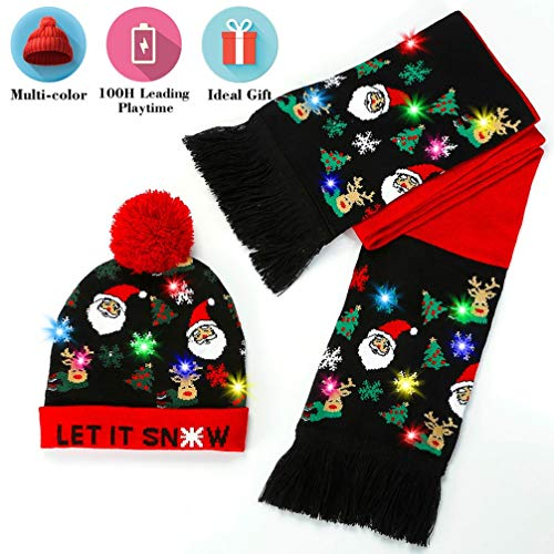 Eaterhom LED Light Up Beanie Hat Knit Cap 6 Colorful Lights LED Christmas Xmas Beanie Hat with Longer Battery Life-Unisex Winter Sweater Ugly Holiday Party Beanie Hat (Reindeer Xmas Lights)