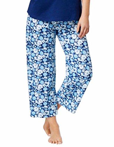Charter Club Printed Cotton Knit Cropped Pajama Pants. Blue/White. XSmall. (Cropped Knit Cotton Pants)