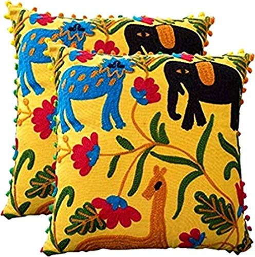 Yellow Color Indian Beautiful Designer Suzani Cushion Cover Handmade Cotton Pillow Cover Vintage Ottoman Pouf 100% Cotton Elephant Embroidered Suzani Cushion Pillow Covers (2 Pc -