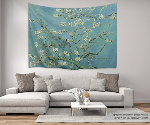 XINYI Home Wall Hanging Nature Art Polyester Fabric Van Gogh Theme Tapestry, Wall Decor for Dorm Room, Bedroom, Living Room, Nail Included - 80