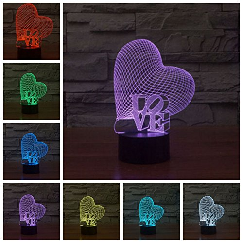 Lightess 3D Desk Lamp Colorful LED Romantic Night Light For Christmas, Wedding, Valentine Gift (LOVE&Heart)