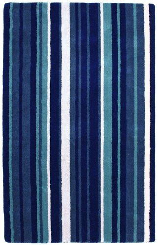 St Croix Trading Solid/Striped Rectangle Area Rug 8'x10' Blue Cosmo Collection