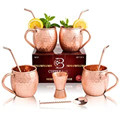 Why choose Copper-Bar? 100% FOOD GRADE COPPER: No nickel or stainless steel, Pure Food Grade Copper. These mugs are the real deal--drink the Moscow Mule the way it was meant to be enjoyed, with a handcrafted pure hammered copper mug. This set...