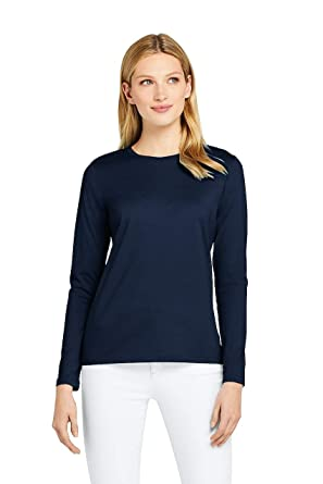 7119be3a34 Lands' End Women's Supima Cotton Long Sleeve T-Shirt - Relaxed Crewneck, S