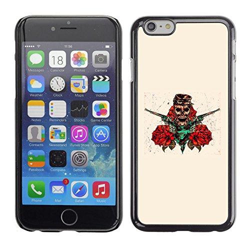 TaiTech / Case Cover Housse Coque étui - Skull Pirate Robber Guns Red Flowers Art - Apple iPhone 6
