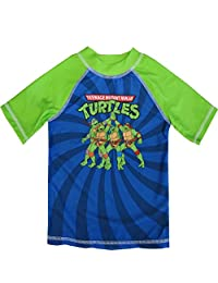 Nickelodeon Little Boys Blue Green TMNT Rash Guard Swimwear Shirt 2-4T