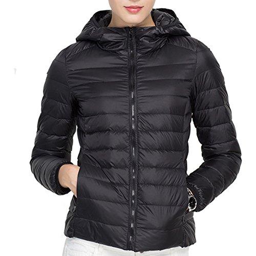 (ミラボルサ) MILA BORSA ダウンジャケット レディース 軽量 ウルトラダウン コート 山ガール 便利な収納袋付き (M, 1 ブラック-フード付)