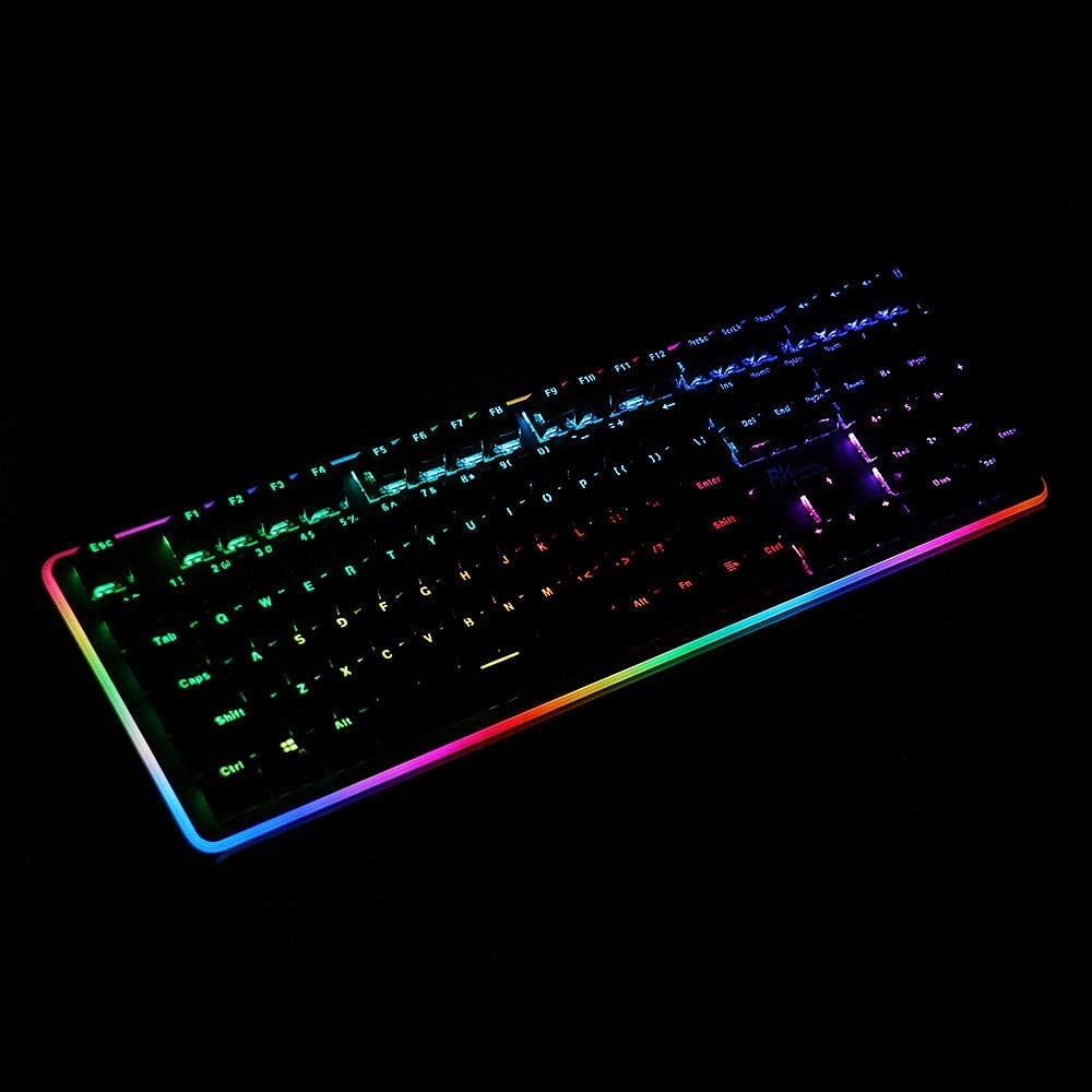 Color : Black, Size : Brown Switch Mechanical Gaming Keyboard Ergonomic Design 108 Key RGB Side Backlit Mechanical Gaming Keyboard with Wrist Pad ABS Keycaps Computer Keyboard