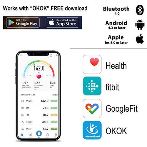 Weight Scale Bluetooth Body Fat Scales Digital Weight Smart Bathroom Scale with iOS &Android and APP Monitor Body Composition Weight, Body Fat, BMI, Water, Bone, Muscle and More 400lbs by Toye (Image #2)