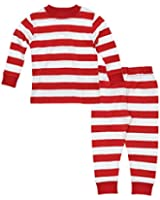 Under the Nile Unisex-Baby Long Johns Red Rugby Stripe