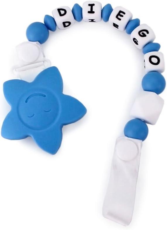 RUBY - Chupetero Estrella Personalizado Para Bebe con Nombre Bola Silicona Antibacteriana, Chupetero Estrella (Azul)