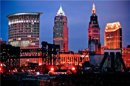 CLEVELAND SKYLINE AT NIGHT GLOSSY POSTER PICTURE PHOTO cavs ohio osu state