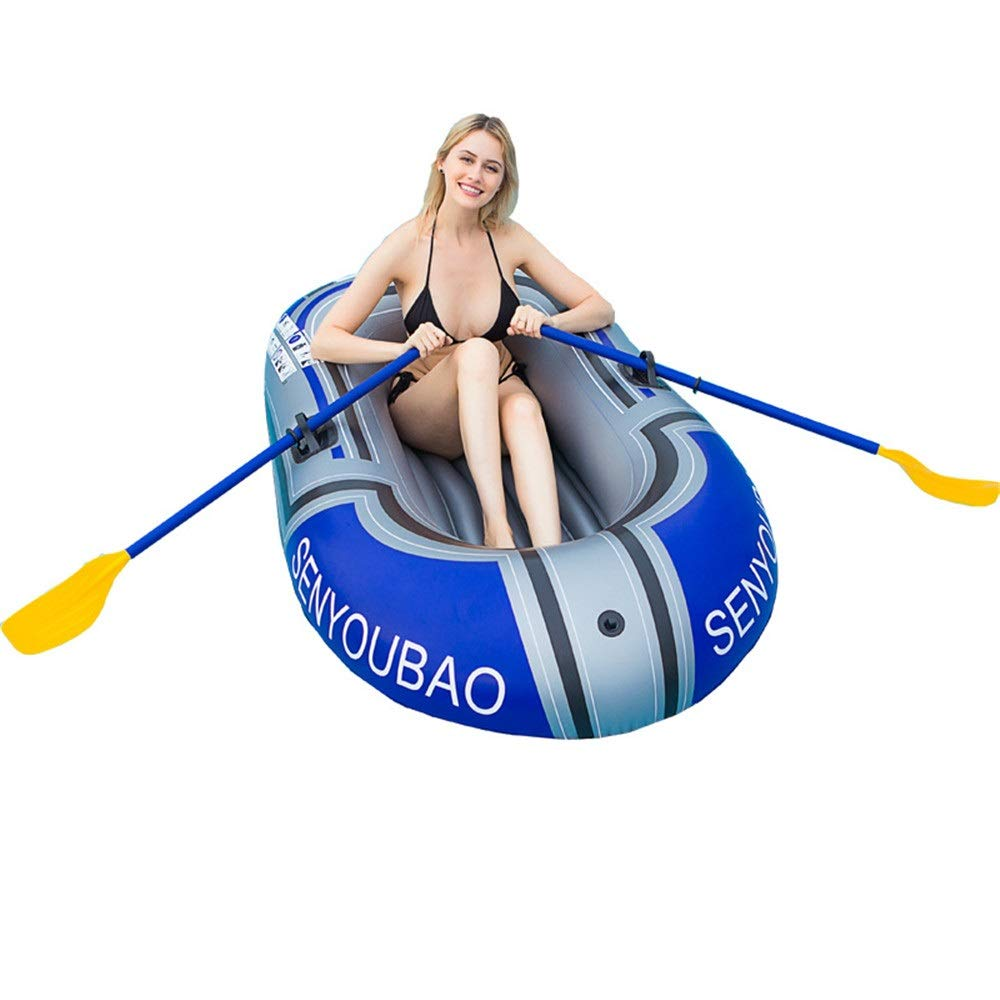 Durability Inflatable Kayaks Durable Inflatable One-Person Boat Dinghy Thickened Fishing Boat Kayak Wear-Resistant Thickening Outdoor Inflatable Boat (Color : Blue, Size : 150cm) by BoeWan
