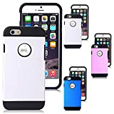 iPhone 6s Case, iPhone 6 Case, [4.7 Inch] by HLCT, Hard Shell Solid PC Back & Interior TPU Bumper, Shock-Absorption Hybrid Dual-Layer Slim Cover (White)