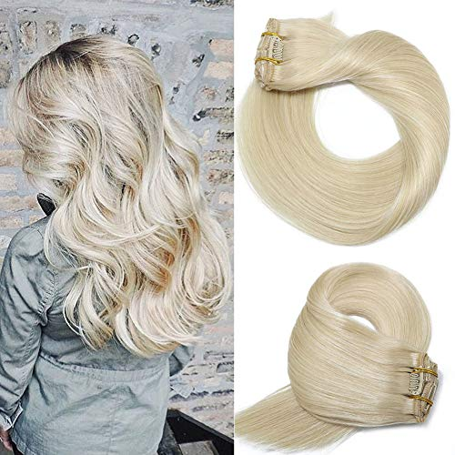 Human Hair Extensions Clip In Blonde New Version Thickened Double Weft Brazilian Hair 120g 7pcs Per Set 9A Remy Hair Full Head Silky Straight 100% Human Hair Clip on Extensions(20 Inch #60) (Blonde Hair Real Extensions Dark)