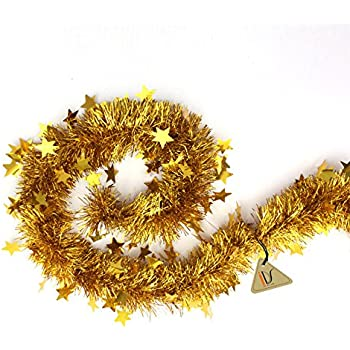 gold tinsel garland stars christmas tree decorations wedding party supplies 60 long - Tinsel Christmas Decorations