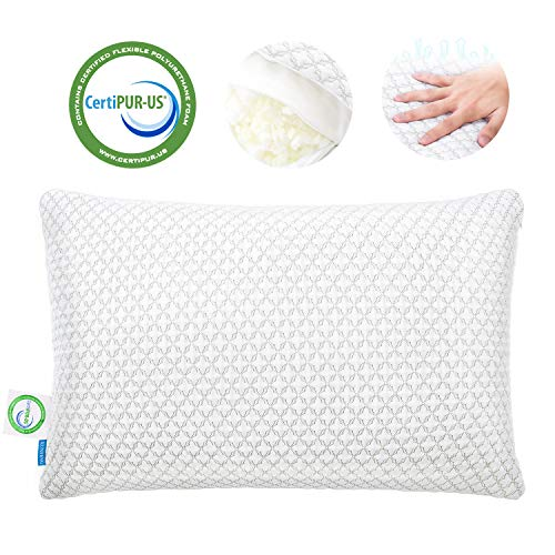 KUNPENG Shredded Memory Foam Bed Pillows for Sleeping - Cooling Pillow with Premium Washable Ice Silk Knitted Cover for Back Stomach Side Sleepers Firm Soft Adjustable - CertiPUR-US Certified - Queen