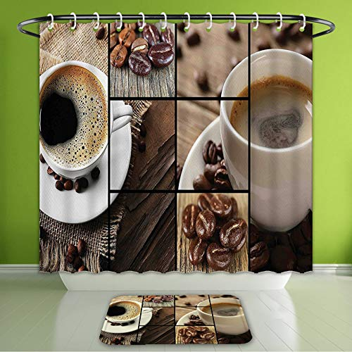 Waterproof Shower Curtain and Bath Rug Set Brown Coffee Themed Collage Close Up Mugs Beans On Wooden Table Aromatic Roasted Espresso Drink Bath Curtain and Doormat Suit for Bathroom 60