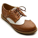 Ollio Women's Flat Shoe Wingtip Lace Up Two Tone Oxford M2913(9 B(M) US, Brown)