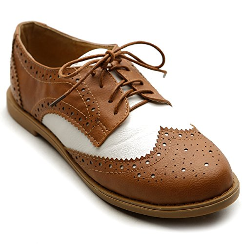 Ollio Women's Flat Shoe Wingtip Lace Up Two Tone Oxford M2913(7 B(M) US, Brown)
