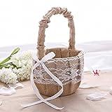 Hessian Burlap Lace Flower Girl Basket Rustic Wedding Decoration Favor